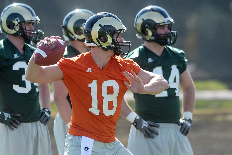 Colorado State University quarterback Garrett Grayson (18) rears back to throw a pass during practice Wednesday, March 27, 2013 on-campus in Fort Collins, Colo.