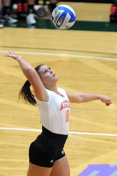 Colorado State's Deedra Foss serves the ball during set two of a match against UNLV on Thursday, Nov. 8, 2012 at Moby Arena.