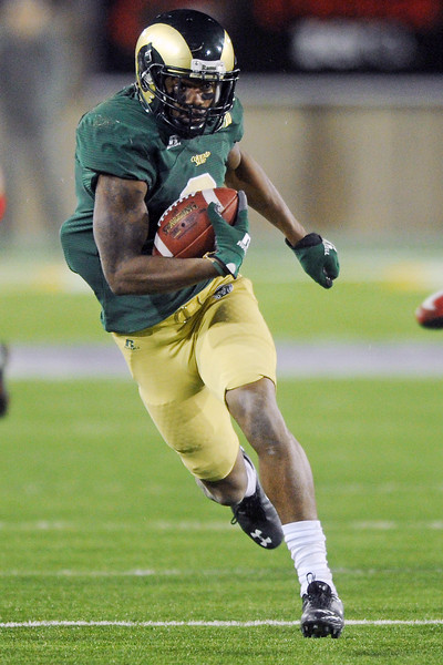 Colorado State wide receiver Marquise Law runs after a catch in the second quarter of a game against New Mexico on Saturday, Nov. 24, 2012 at Hughes Stadium.