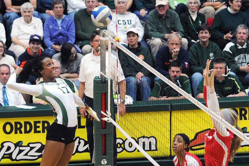 Colorado State senior Brieon Paige (17) goes up for a spike during set two of a match against New Mexico on Friday, Nov. 23, 2012 at Moby Arena.