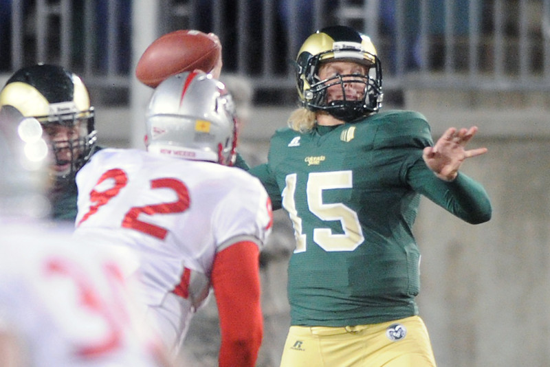 Colorado State quarterback Conner Smith (15) prepares to throw a pass in the second quarter of a game against New Mexico on Saturday, Nov. 24, 2012 at Hughes Stadium.