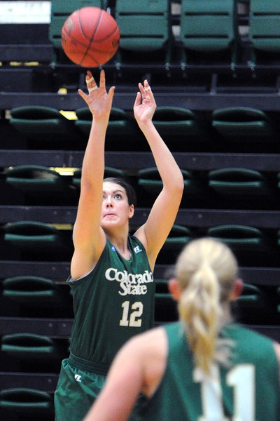 Colorado State junior Sam Martin puts up a shot during a recent practice at Moby Arena in Fort Collins.