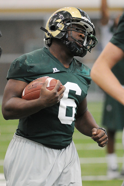 Colorado State running back Chris Nwoke during practice on Tuesday, Oct. 16, 2012 at the team's on-campus practice facility.