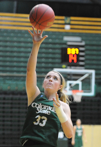 Colorado State University women's basketball player Caitlin Duffy during practice on Wednesday, October 24, 2012.