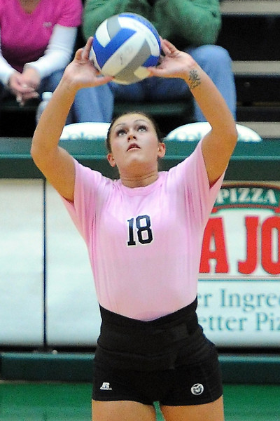 Colorado State University's Deedra Foss sets the ball during a match against Boise State on Oct. 18, 2012 at Moby Arena.