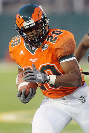 Colorado State running back Tommey Morris during a game against Hawaii on Saturday, Oct. 27, 2012 at Hughes Stadium.