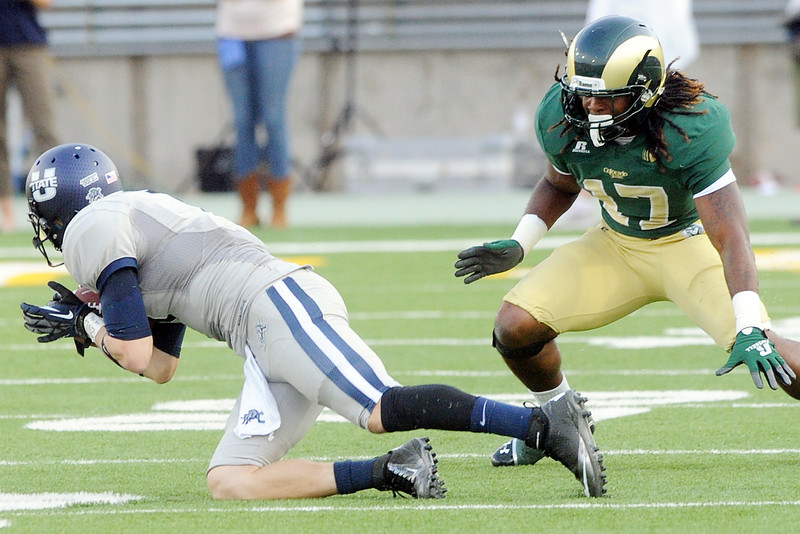 Colorado State University cornerback Jasen Oden, right, defends on a pass play to Utah State wide receiver Travis Van Leeuwen in the second quarter of their game on Saturday, Sept. 22, 2012 at Hughes Stadium in Fort Collins.