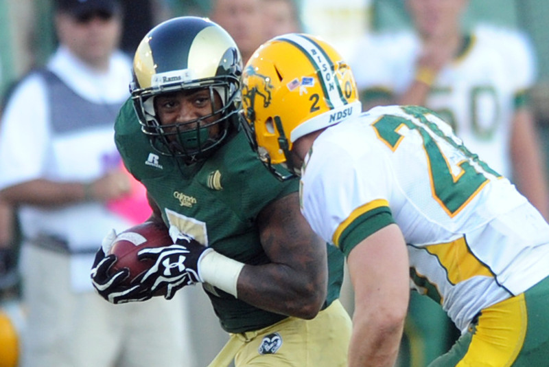 Colorado State running back Donnell Alexander carries the ball in the first half of a game against North Dakota State on Saturday, Sept. 8, 2012 at Hughes Stadium.