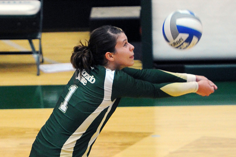 Colorado State's Izzy Gaulia bumps a ball during set two of the Rams' match against UCLA on Saturday, Sept. 15, 2012 at Moby Arena.