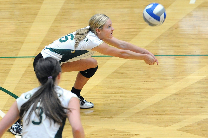 Colorado State University freshman Jaime Colaizzi, back, bumps a service return while teammate Adrianna Culbert (3) looks on during set two of their match against San Diego State on Saturday, Sept. 29, 2012 at Moby Arena in Fort Collins, Colo.