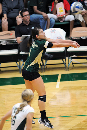 Colorado State University senior Izzy Gaulia (1) bumps the ball while teammate Jaime Colaizzi (16) looks on during set two of their match against San Diego State on Saturday, Sept. 29, 2012 at Moby Arena in Fort Collins, Colo.