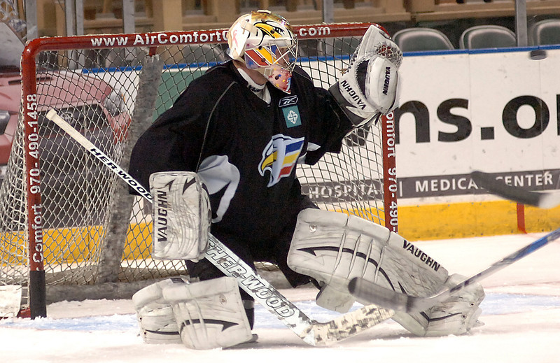 Eagles goalie Andrew Penner Monday during practice.
