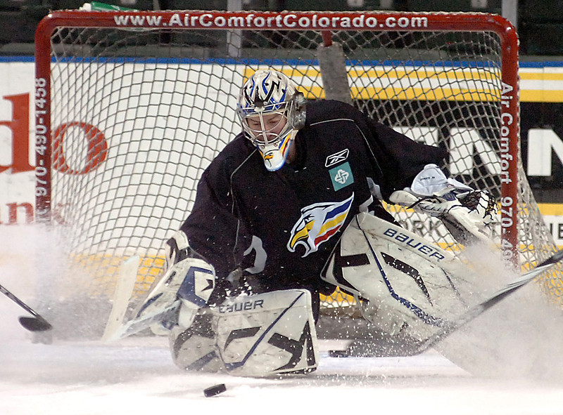 Eagles goalie Kyle Jones Monday during practice.