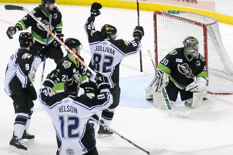 Colorado Eagles players Kevin Ulanski (9), Riley Nelson (12) and Dan Sullivan (82) celebrate after Nelson scored a goal past Quad-City Mallards goalie David Brown in the second period of their game Saturday, April 2, 2011 at the Budweiser Events Center.
