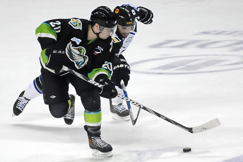 Quad City Mallards defenseman Shane Lovdahl (20) and Colorado Eagles winger Kevin Ulanski battle for control of the puck in the first period of their game Friday, April 1, 2011 at the Budweise Events Center in Loveland, Colo.