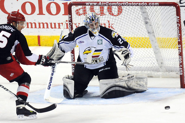Colorado Eagles goalie Kyle Jones works in front of the net during a game against the Odessa Jackalopes on Dec. 10, 2010 at the Budweiser Events Center.