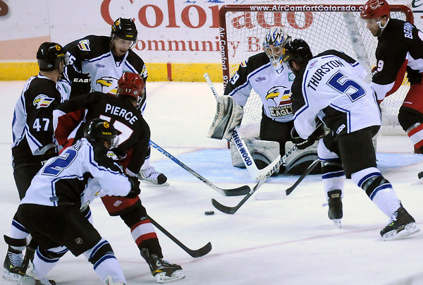 Colorado Eagles goalie Kyle Jones works in front of the net in the first period of a game against the Odessa Jackalopes on Friday at the Budweiser Events Center.
