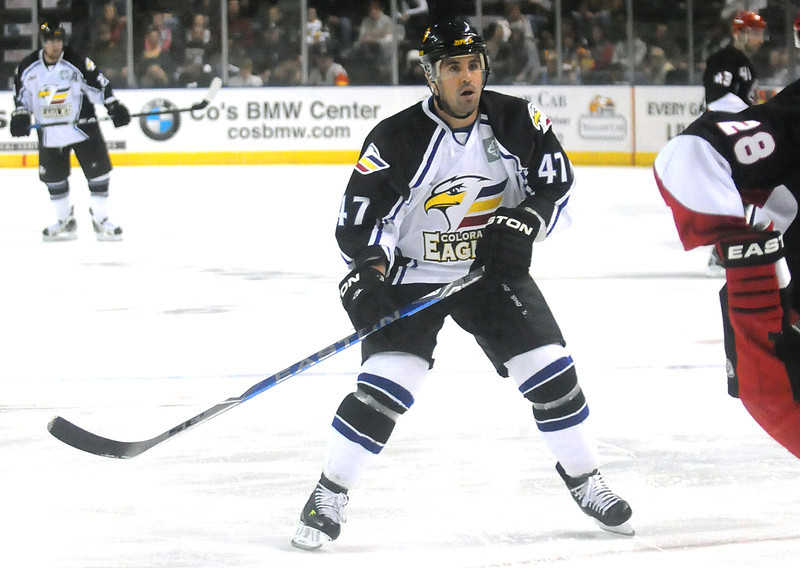 Colorado Eagles forward Scott May (47) during a game against the Odessa Jackalopes last December at the Budweiser Events Center.
