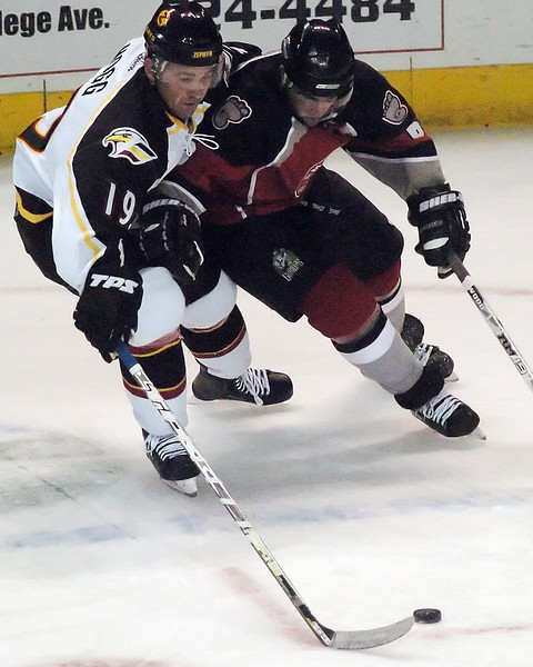 Colorado Eagles center Adam Hogg, left, battles for the puck with Andy Brennan of the Amarillo Gorillas in the first period of their game Wednesday, Nov. 25, 2009 at the Budweiser Events Center.