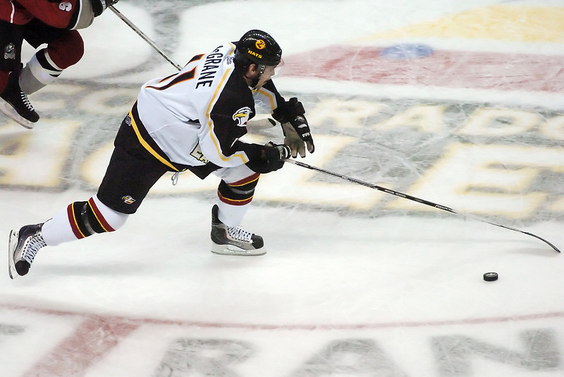 Colorado Eagles center Ed McGrane during a game against the Amarillo Gorillas on Wednesday, Nov. 25, 2009 at the Budweiser Events Center.
