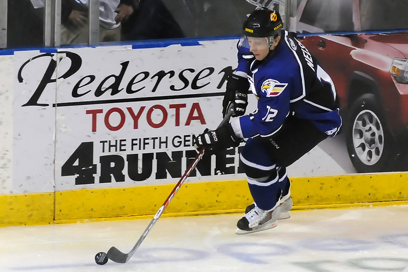 Colorado Eagles center Riley Nelson during a game against the Evansville Icemen on Wednesday, Jan. 19, 2011 at the Budweiser Events Center.