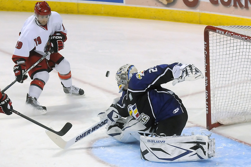 Colorado Eagles goalie Kyle Jones makes a stop in the first period of a game against the Odessa Jackalopes on Saturday, Jan. 15, 2011 at the Budweiser Events Center.