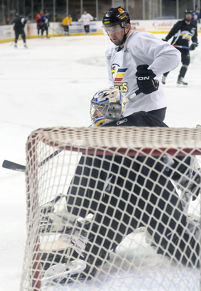 Colorado Eagles forward Dan Sullivan works on a drill during Wednesday morning at the Budweiser Events Center.
