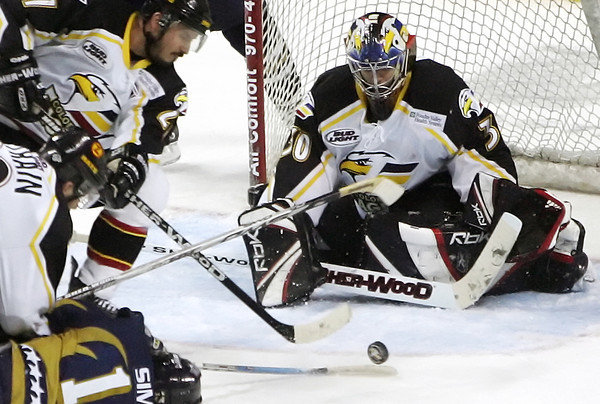 Former Colorado Eagles goalie Tim Boron during game 6 of the President's Cup Finals against the Laredo Bucks on Wednesday, May 23, 2007 at the Budweiser Events Center.