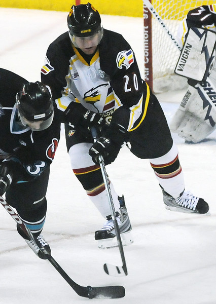 Colorado Eagles defenseman Jason Beatty, center, during a game against the Bossier-Shreveport Mudbugs on March 26, 2010 at the Budweiser Events Center.
