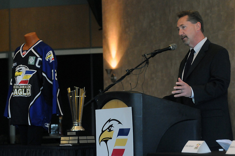 Colorado Eagles head coach and general manager Chris Stewart speaks during a news conference Tuesday, May 31, 2011 at the Budweiser Events Center where it was announced that the team would be leave the Central Hockey League next season to join the East Coast Hockey League.