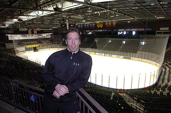 Colorado Eagles player Ryan Tobler poses for a photo at the Budweiser Events Center recently in Loveland.