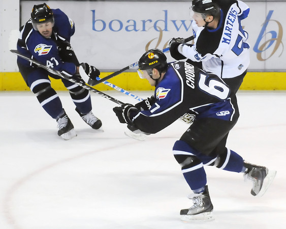 Colorado Eagles players Adam Chorneyko, left, and Scott May during a game against the Wichita Thunder on Saturday, Feb. 26, 2011 at the Budweiser Events Center.