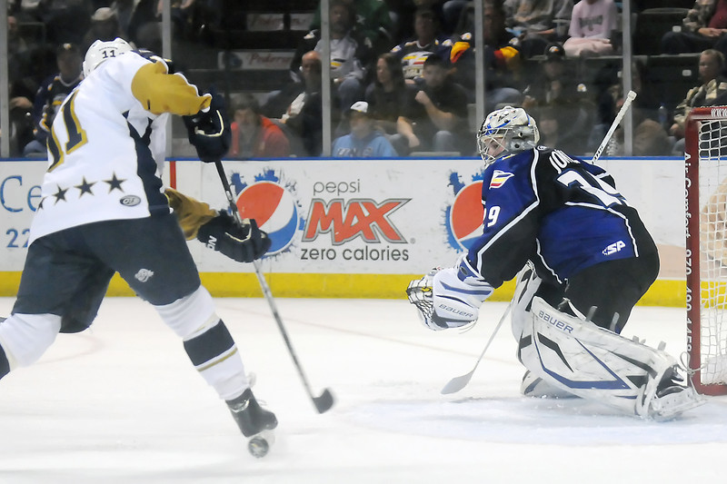 Colorado Eagles goalie Kyle Jones works in front of the net in the second period of a game against the Laredo Bucks on March 16, 2011 at the Budweiser Events Center.
