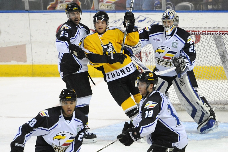Colorado Eagles goalie Kyle Jones defends in front of the net in the first period of a game against the Stockton Thunder on Friday, April 6, 2012 at the Budweiser Events Center.