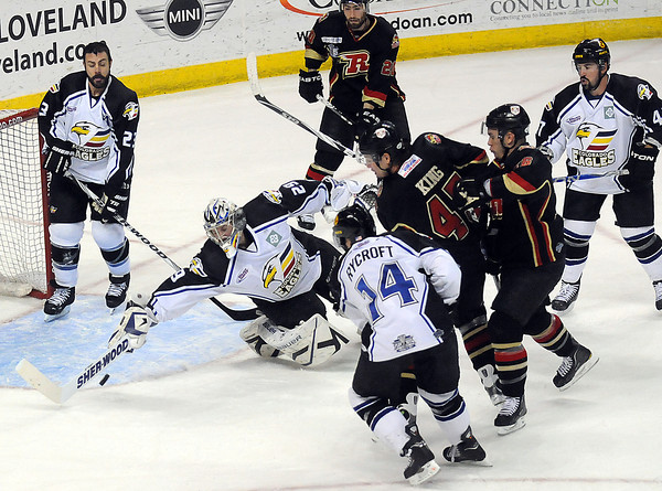 Colorado Eagles goaltender Kyle Jones stops a goal during their game against the Rapid City Rush on Thursday, May 5, 2011 at the Budweiser Events Center in Loveland, Colo. (Photo by Steve Stoner, Loveland Reporter Herald)