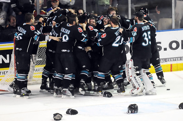 Bossier-Shreveport Mudbugs players celebrate on the ice after defeating the Colorado Eagles, 2-1, on Friday, May 27, 2011 at the Budweiser Events Center in Loveland, Colo. to win the Ray Miron Presidents' Cup.