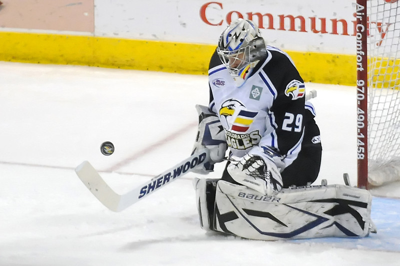 Colorado Eagles goalie Kyle Jones during a game against the Rapid City Rush on Thursday, May 5, 2011 at the Budweiser Events Center in Loveland, Colo.
