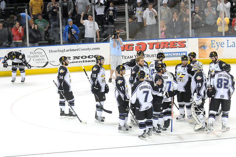 Colorado Eagles players skate on the ice together after being beaten by the Bossier-Shreveport Mudbugs, 2-1, on Friday, May 27, 2011 at the Budweiser Events Center in Loveland, Colo.