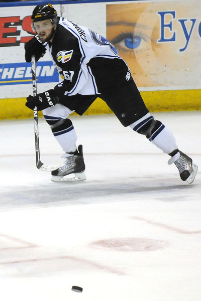 Colorado Eagles player Adam Chorneyko during a game against the Rapid City Rush on Thursday, May 5, 2011 at the Budweiser Events Center in Loveland, Colo.