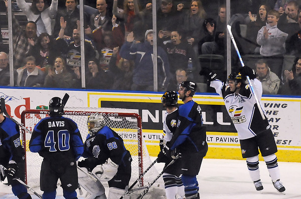 Colorado Eagles winger Kevin Ulanski, right, raises his arms and celebrates after scoring his second goal of the first period during a game against the Wichita Thunder on Friday, Nov. 26, 2010 at the Budweiser Events Center.