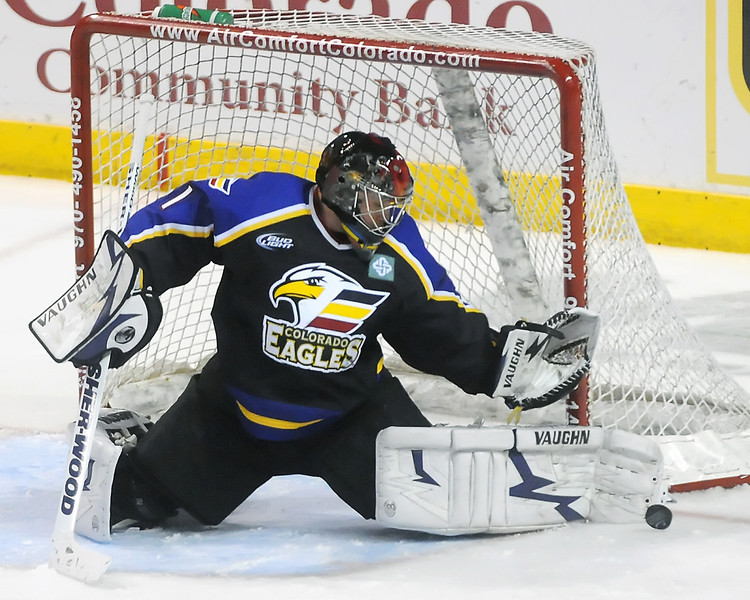 Colorado Eagles goalie Andrew Penner during a game Colorado Eagles against the Odessa Jackalopes on Wednesday, March 3, 2010 at the Budweiser Events Center.