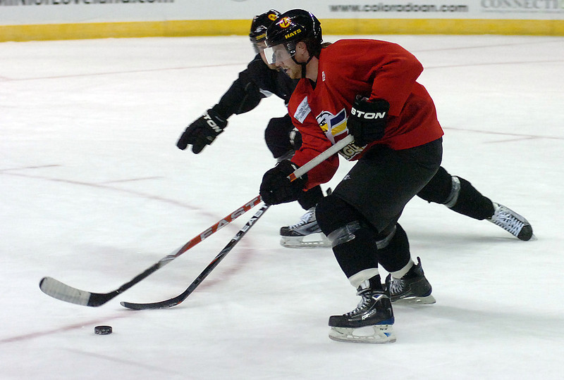 Colorado Eagles forward Dylan Stanley practices Thursday at the Budweiser Event Center.