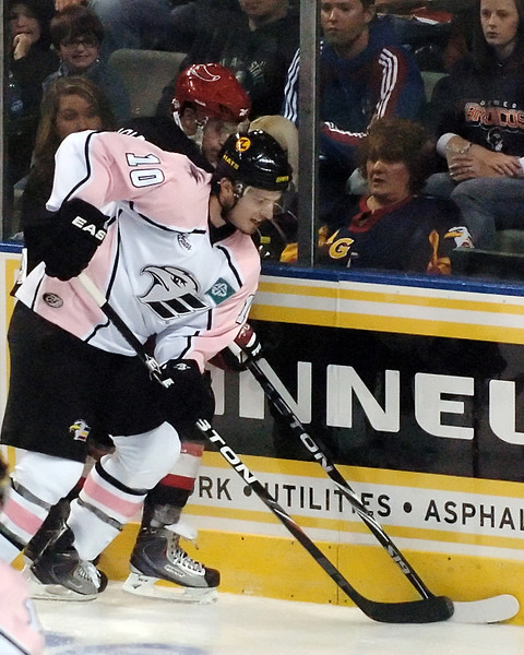 Colorado Eagles winger Steve Haddon battles along the boards during the second period of a game against the Odessa Jackalopes on Saturday, Oct. 2, 2010 at the Budweiser Events Center.