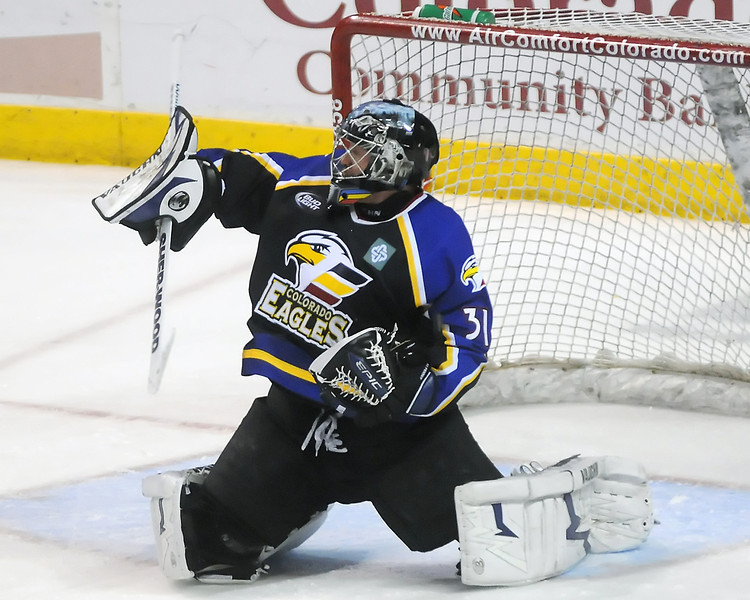 Colorado Eagles goalie Andrew Penner during a game against the Odessa Jackalopes on Wednesday, March 3, 2010 at the Budweiser Events Center.