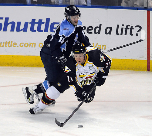 Colorado Eagles Fraser Filipic and Wichita Thunder player xxxxx Wednesday Dec 16th at the Budweiser Events Center.