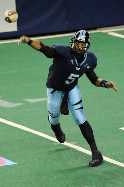 Colorado Ice quarterback David Knighton throws a pass in the second quarter of a game against the Everett Raptors on Saturday, March 31, 2012 at the Budweiser Events Center.