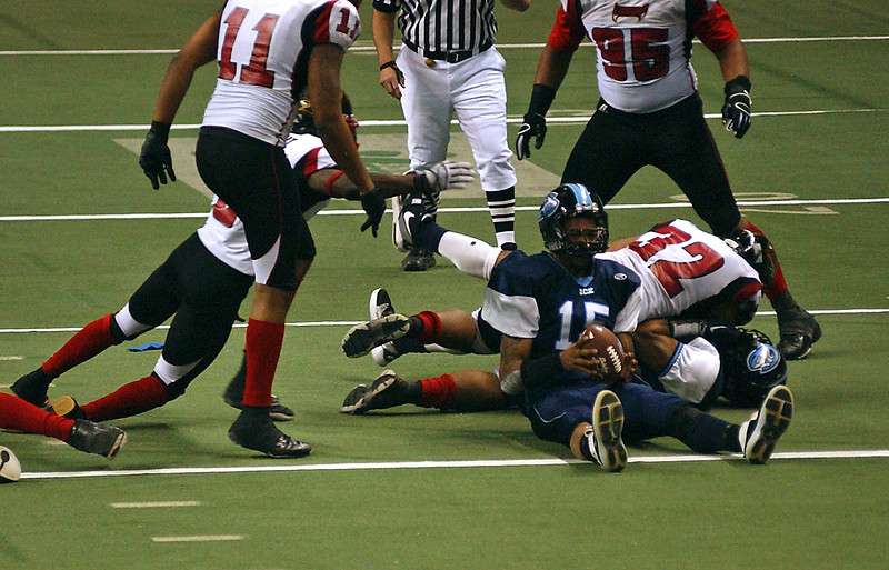 Ice's Ellis Shepard rolls out of a tackle and sits for a moment, stunned, that he's not buried under a pile of Venom.