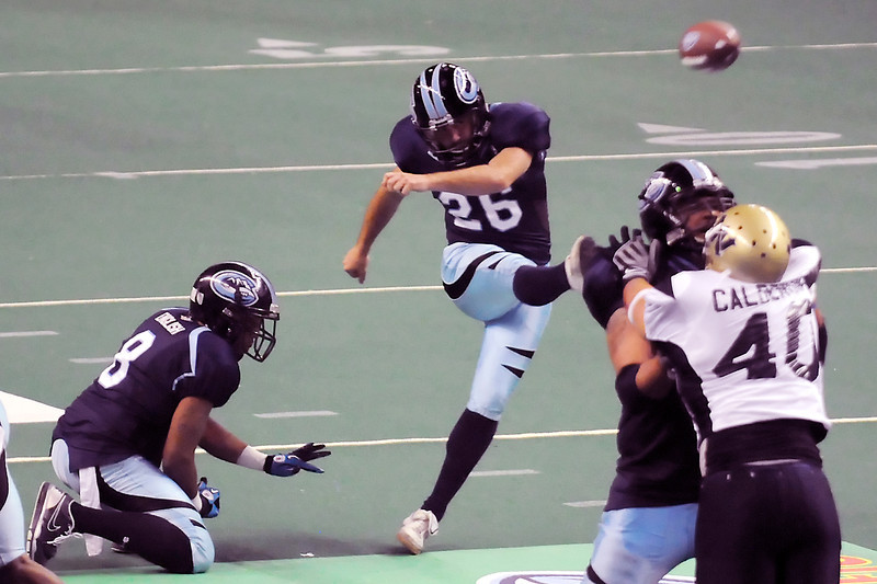 Colorado Ice kicker Rocky Stevens boots a field goal on a Jason English hold in the second quarter of their game against the Wyoming Cavalry on Sunday, April 17, 2011 at the Budweiser Events Center. The Ice won, 59-54, to remain undefeated on the season. Second quarter.