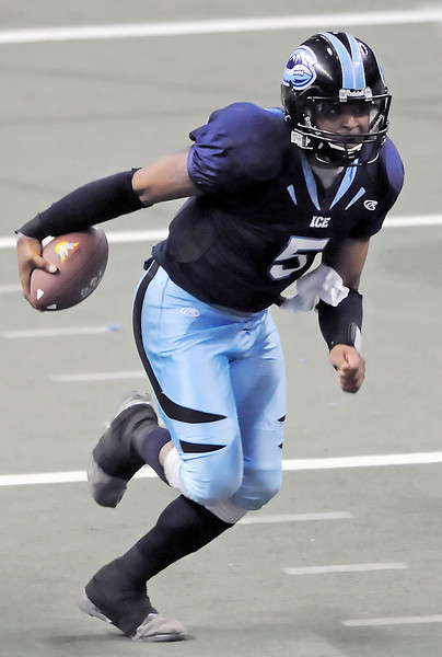 Colorado Ice quarterback David Knighton runs with the ball during a game against the Wichita Wild on May 8, 2010 at the Budweiser Events Center.