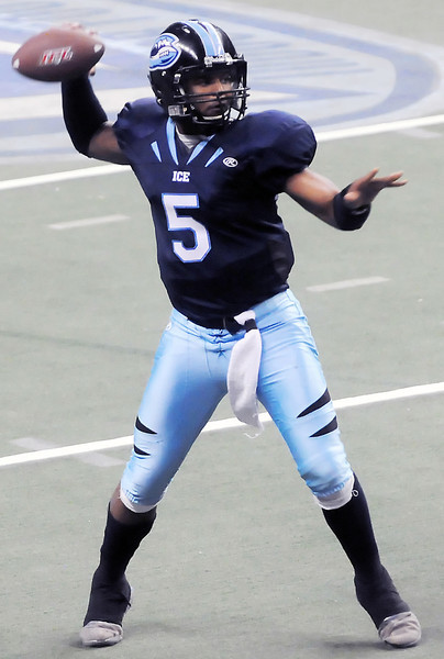 Colorado Ice quarterback David Knighton prepares to throw a pass during a game against the Wichita Wild on May 8, 2010 at the Budweiser Events Center.